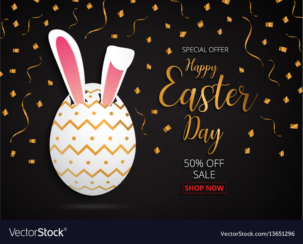 Happy easter day design gold egg banner and