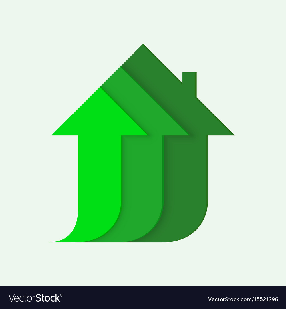 House icon with arrow up invest business sale