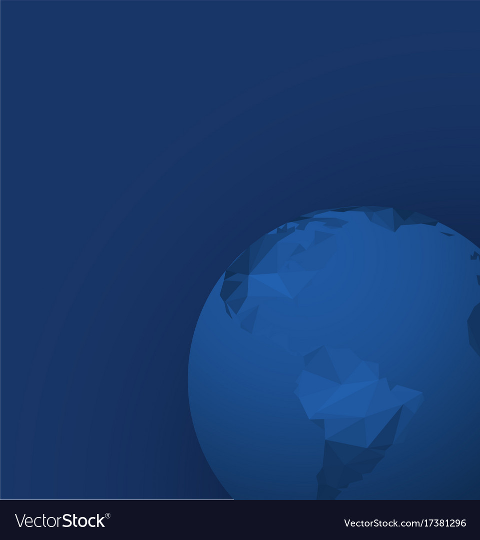 Polygonal globe template on dark blue background