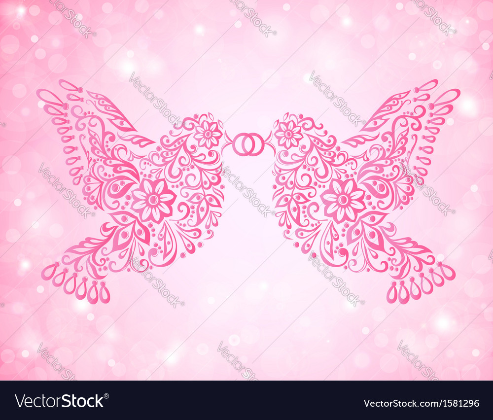Two birds have a ring in its beak Wedding card Vector Image