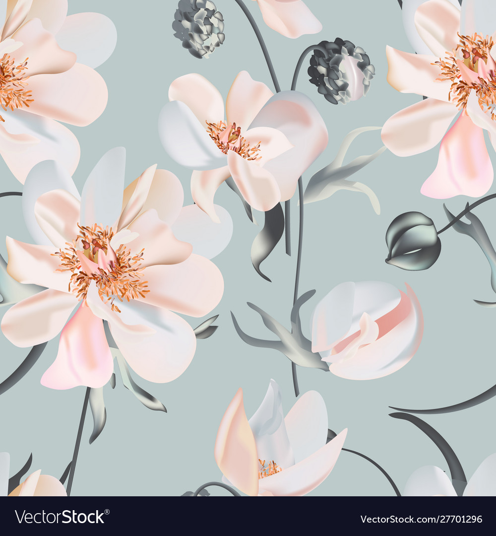 Wedding peony floral pastel realisitic pattern