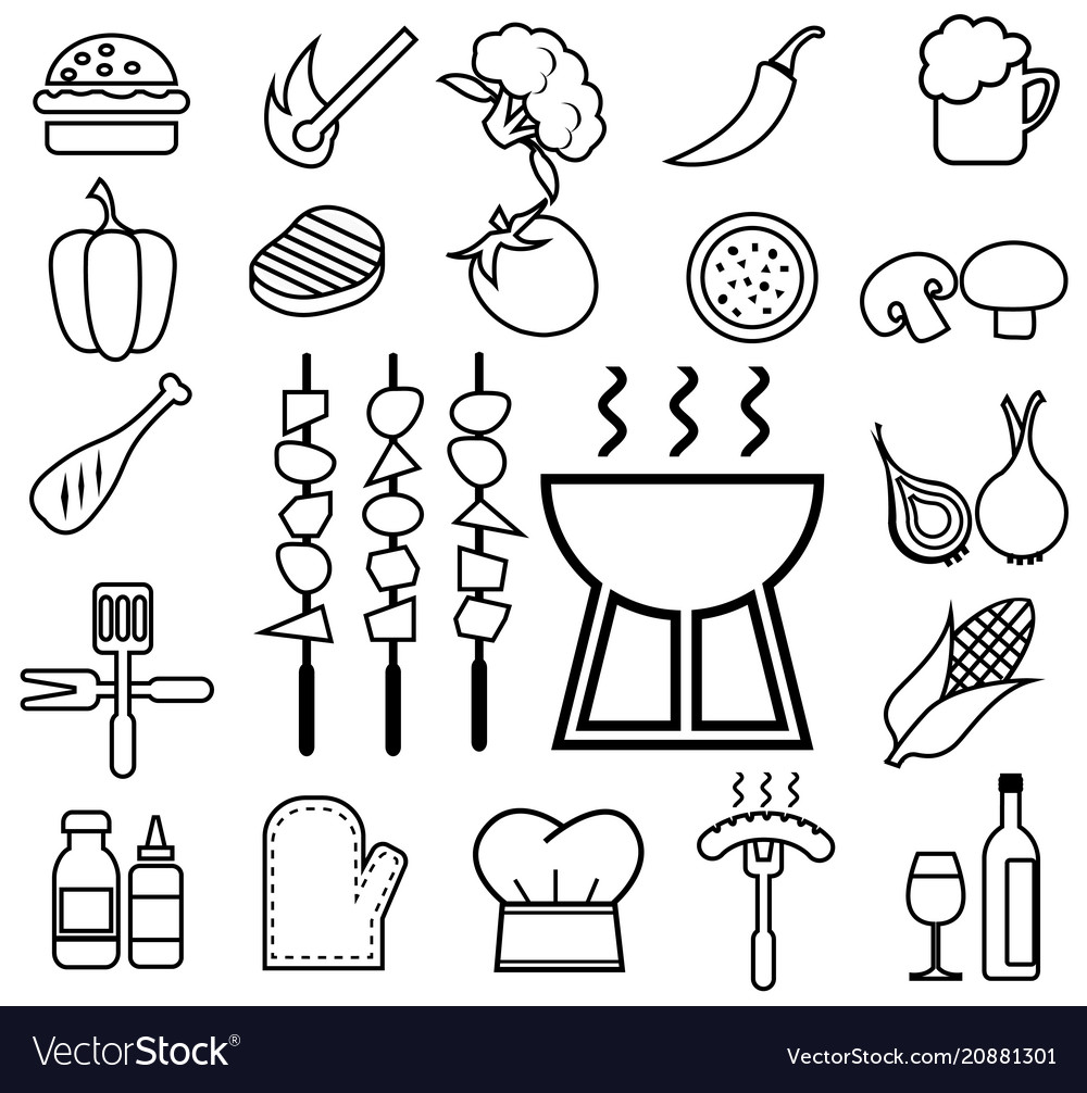 Barbecue icon set line
