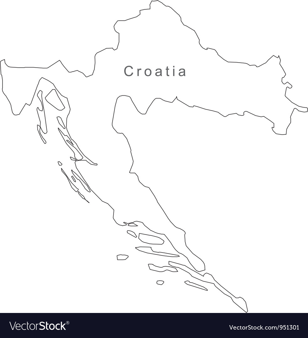 Black White Croatia Outline Map