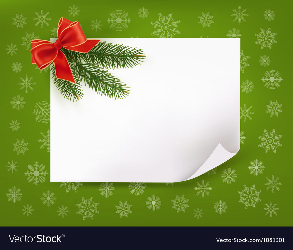 Christmas background with gift bow and fir