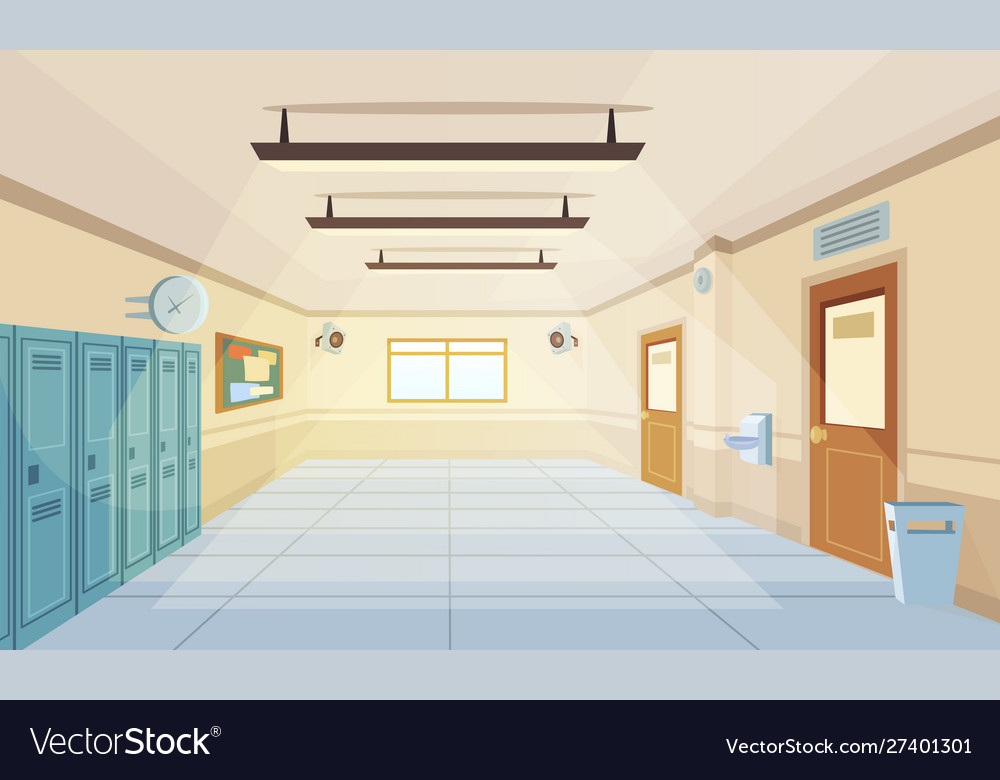 Color cartoon high school hallway