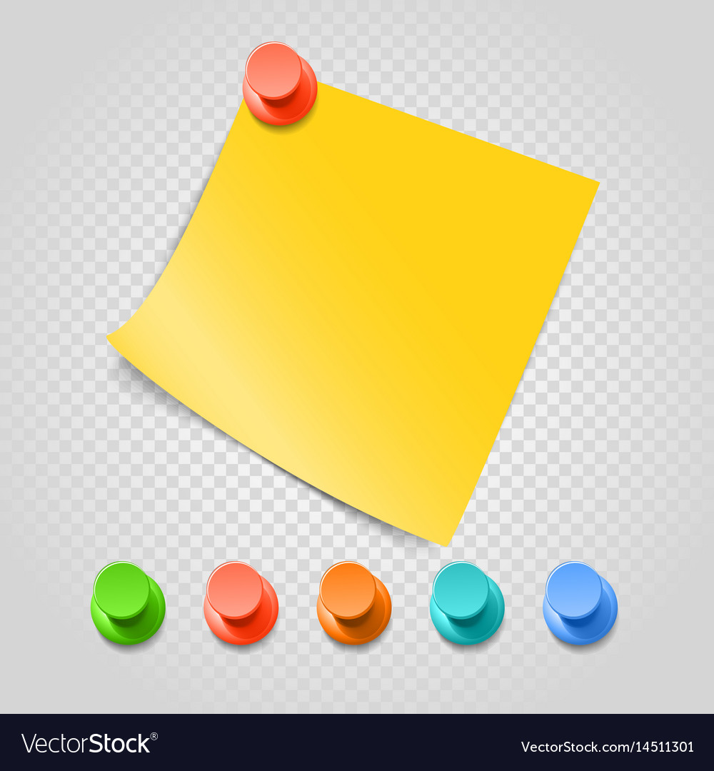 Color pins and paperclip isolated on transparent vector image