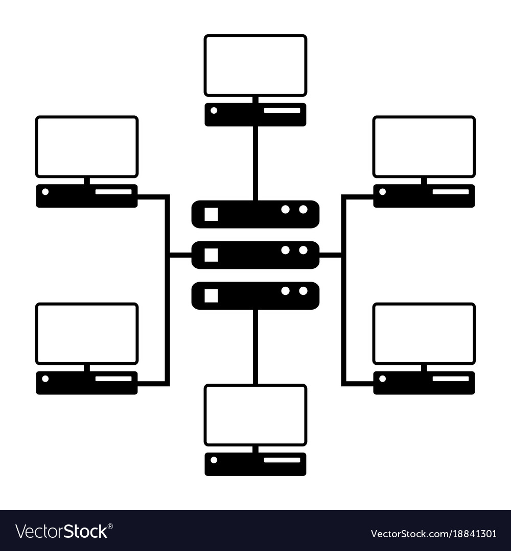 computer network diagram icon royalty free vector image. Black Bedroom Furniture Sets. Home Design Ideas