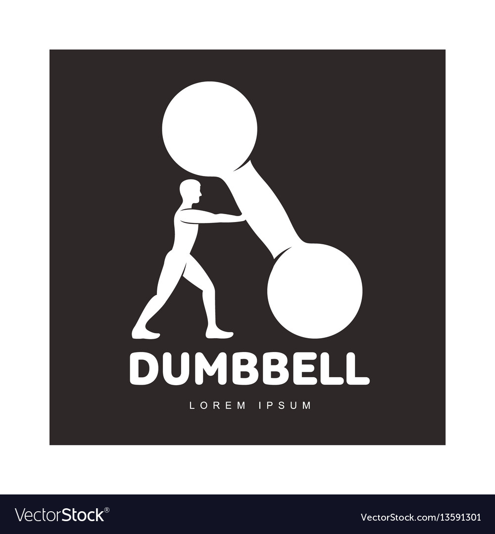 Graphic logo template with bodybuilder man vector image