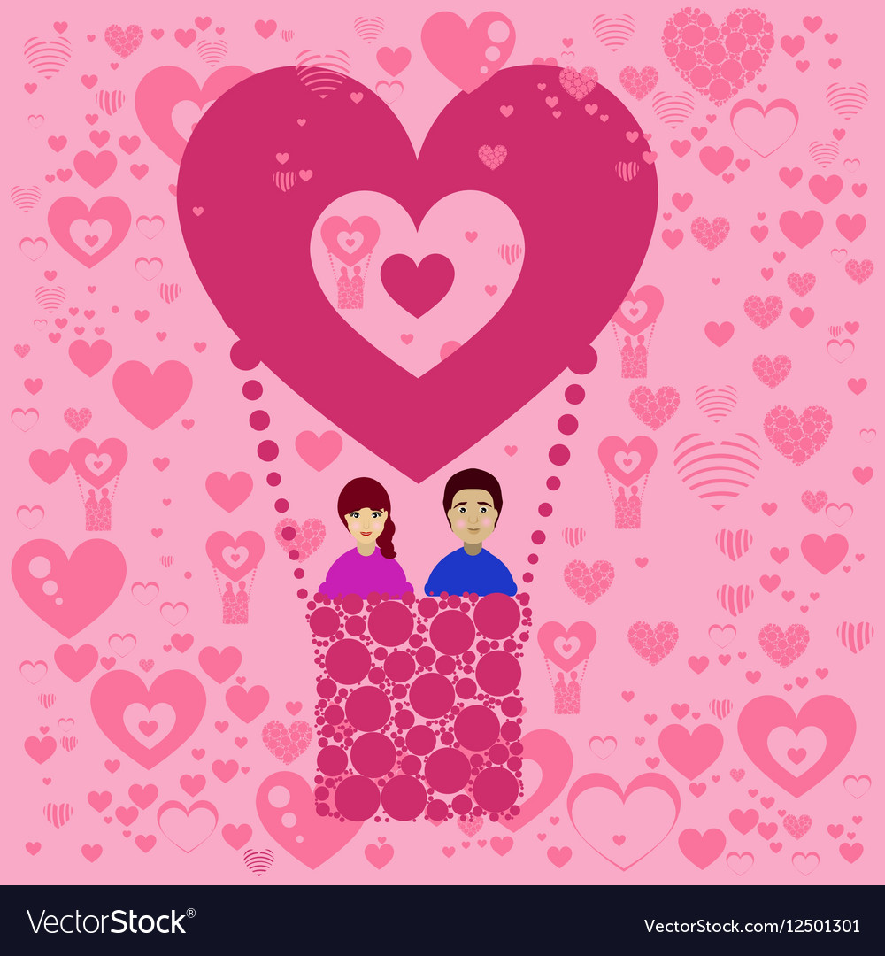 Lovers n balloon Valentine s Day vector image