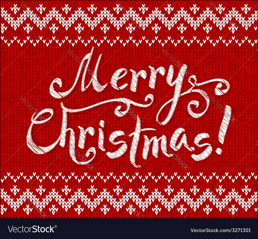 Merry Christmas knit on red background
