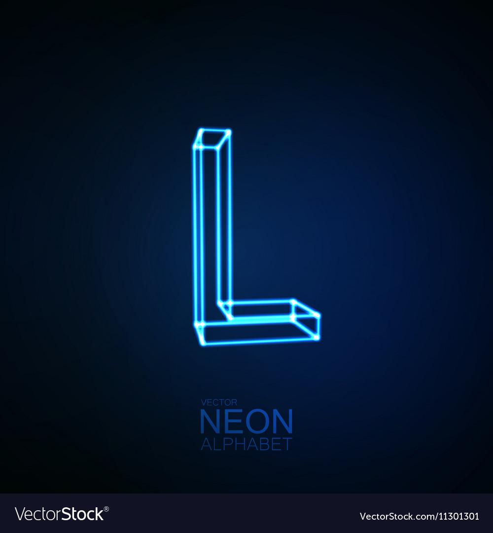 neon 3d letter l royalty free vector image vectorstock vectorstock