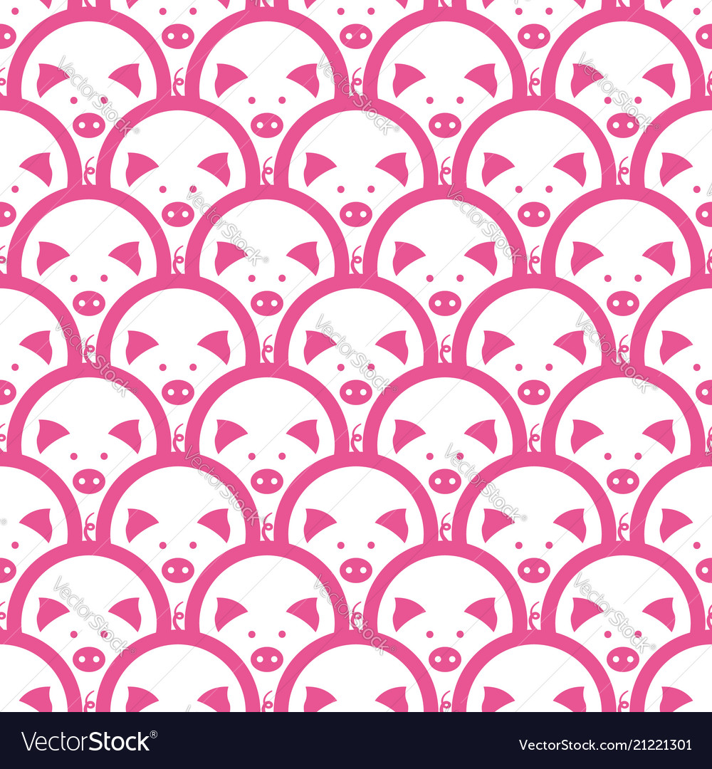 Pig Symbol Of The 2019 Chinese New Year Seamless Vector Image