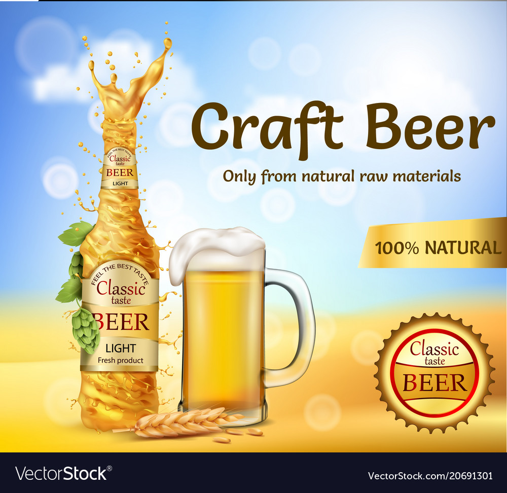 Realistic promotion banner for beer brand