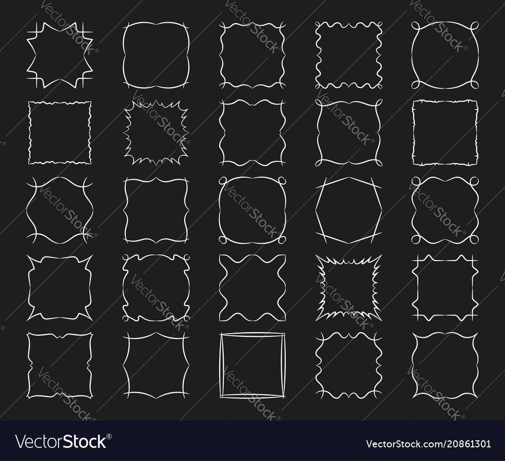 Square frames set abstract modern design elements