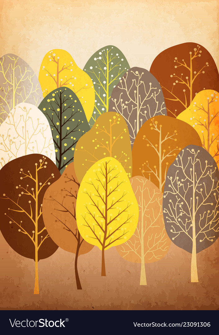 Background from abstract autumn forest on old