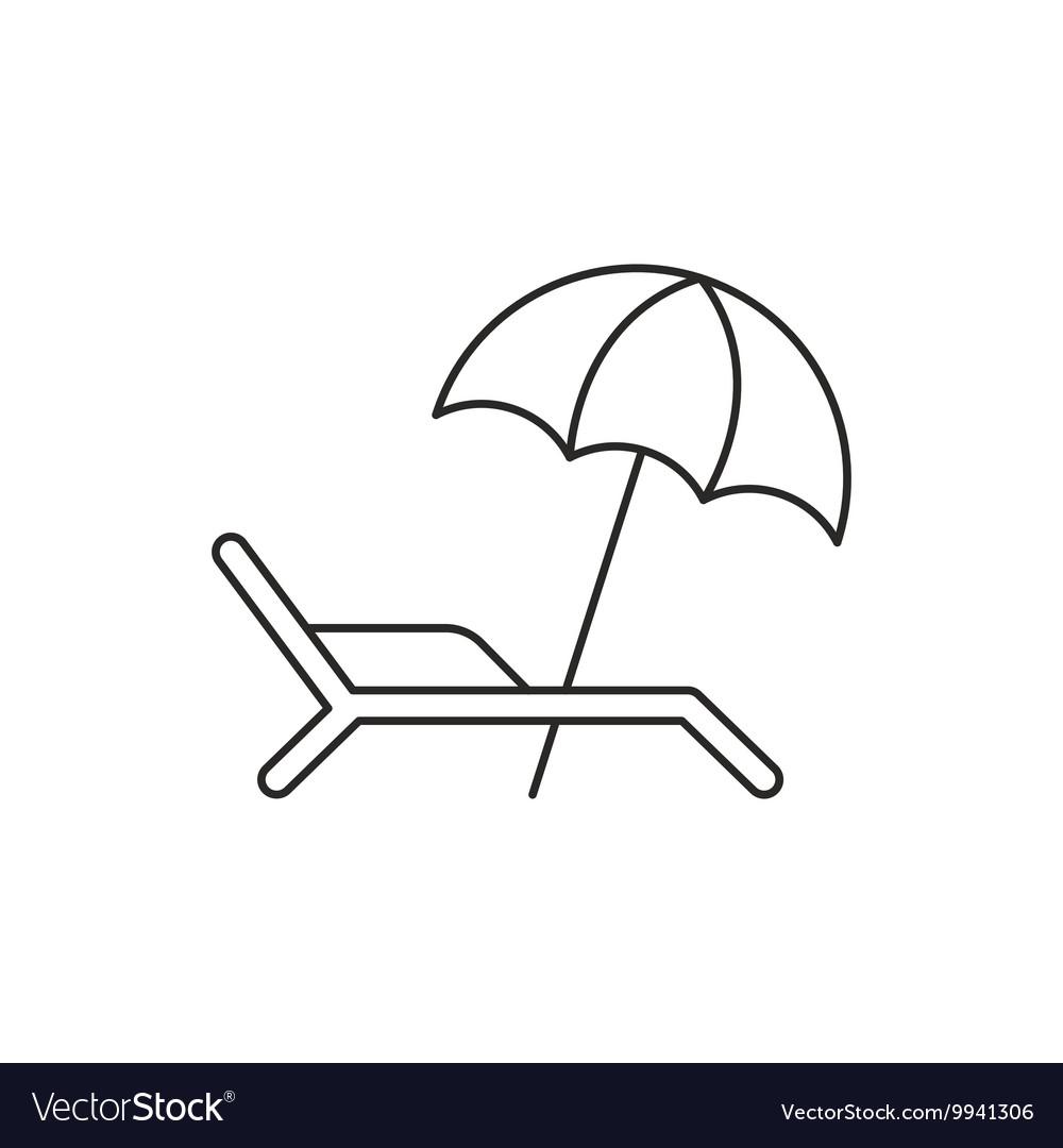 Beach umbrella icon with deckchair