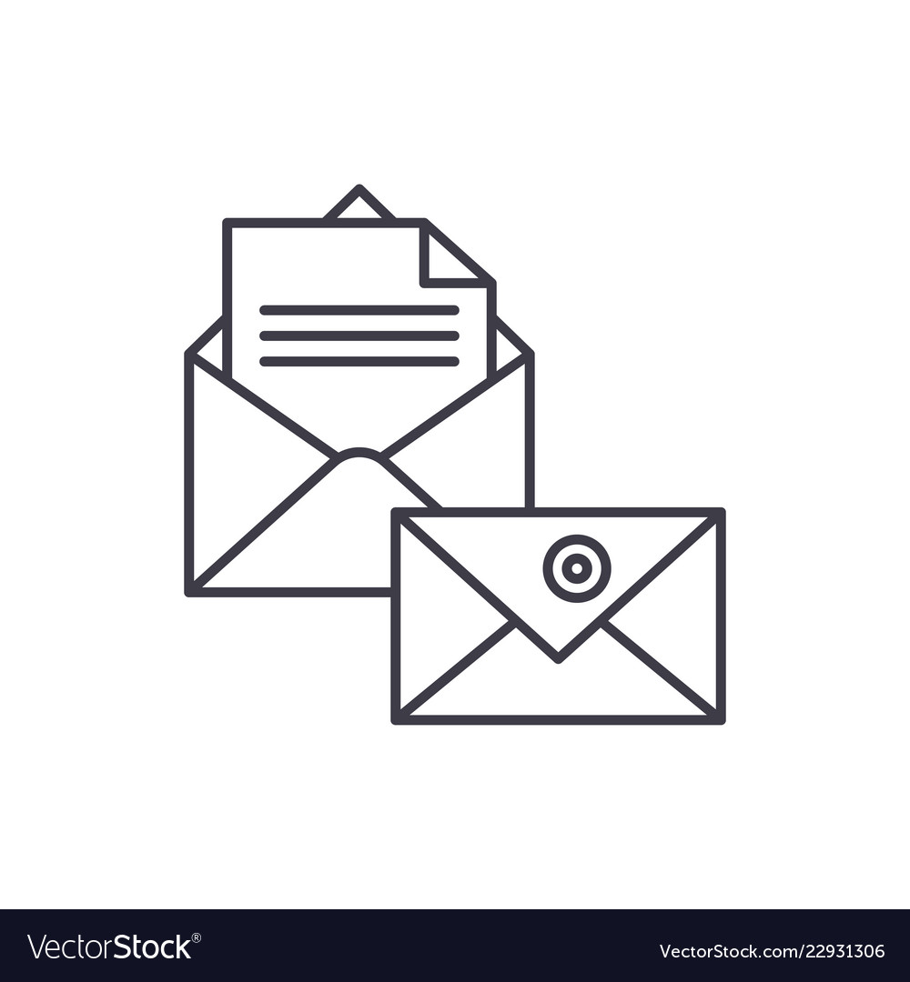 Business correspondence line icon concept