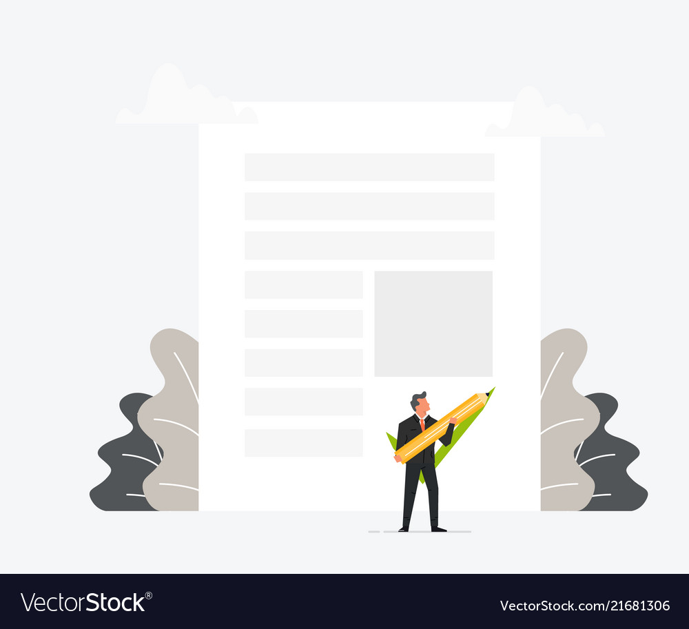 Businessman holding pen or pencil and puts his