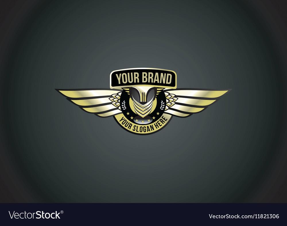 Chrome wing logo vector image