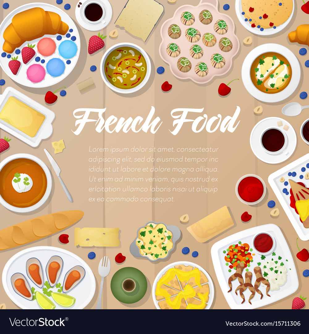 French cuisine menu template with soups vector image