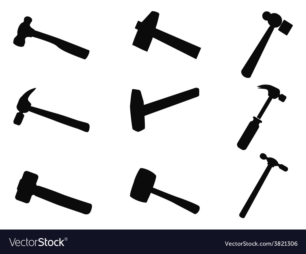 Hammer silhouettes set