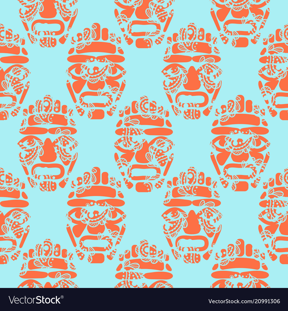 Hawaii tiki tribal mask seamless simple pattern