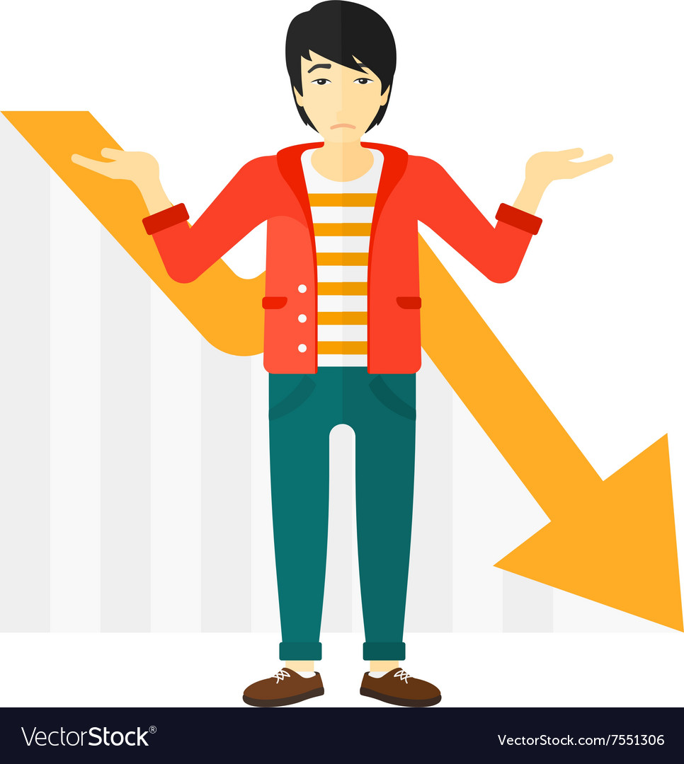 Man with declining chart vector image