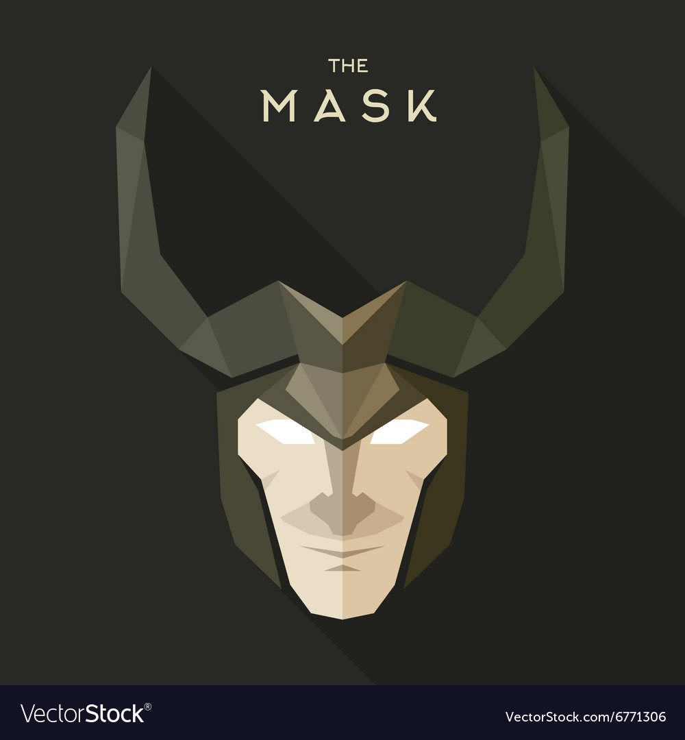 Mask hero into flat style graphics art
