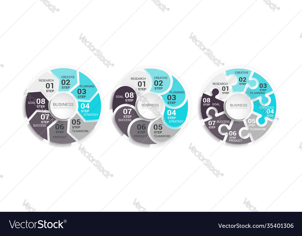 Modern round chart 3d infographic template with a