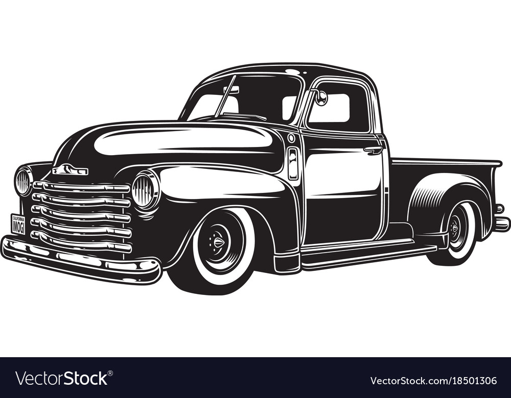 Monochrome of retro style truck Royalty Free Vector Image