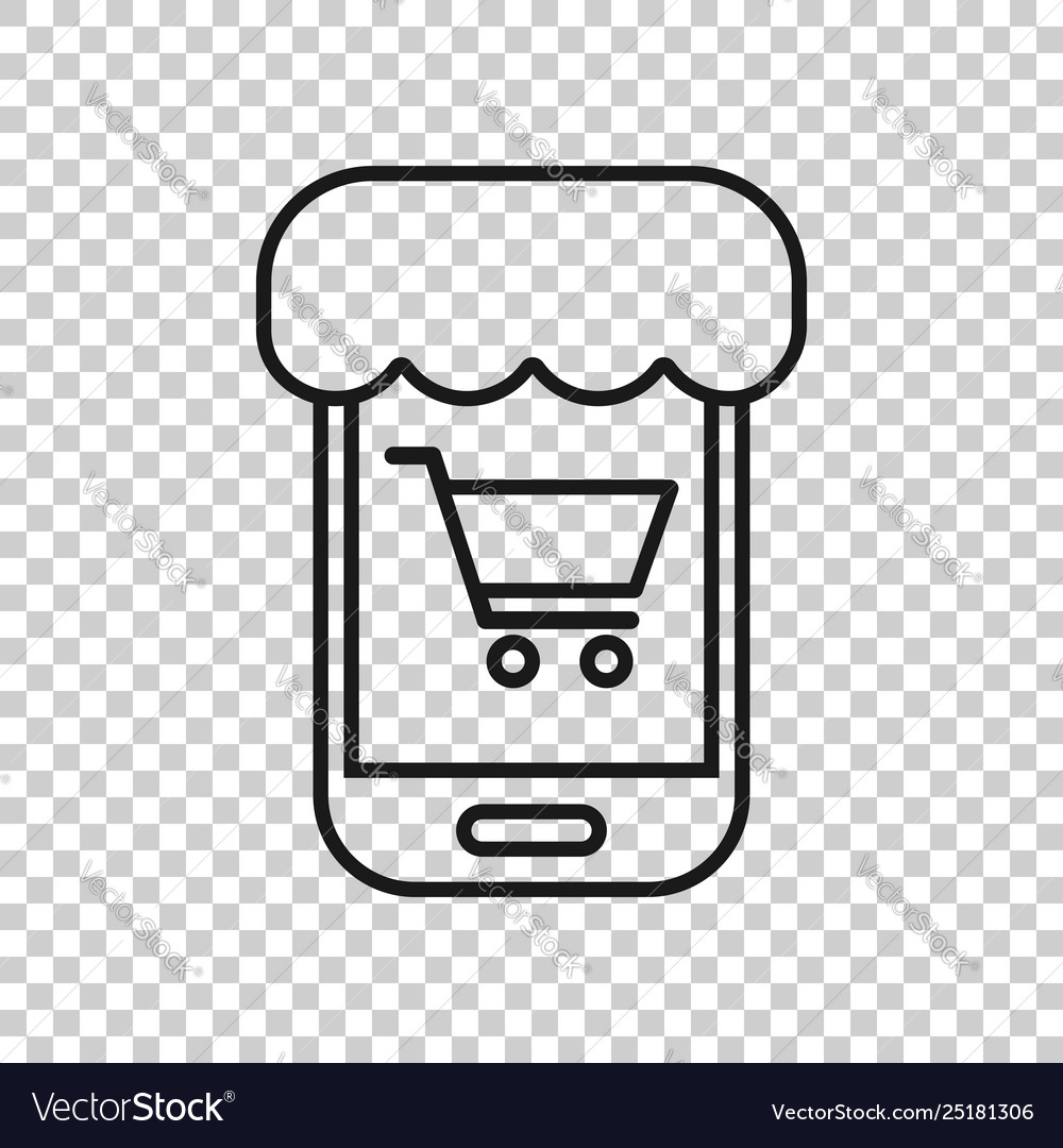 Online shopping icon in transparent style