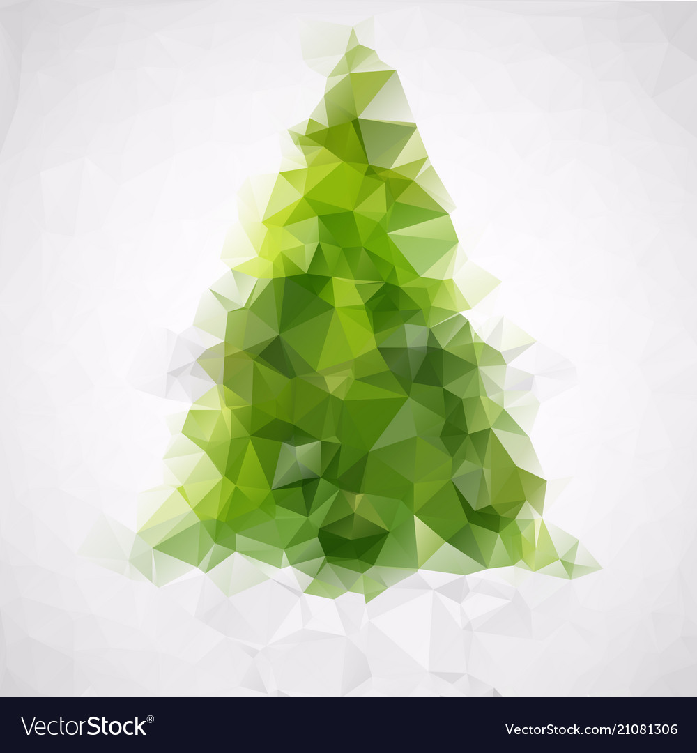Polygonal abstract christmas tree of green triangl