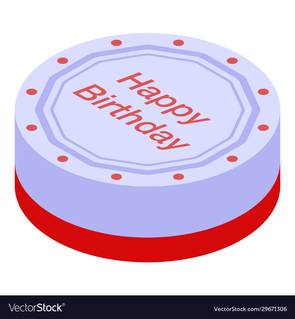 Awe Inspiring Round Birthday Cake Icon Isometric Style Vector Image Funny Birthday Cards Online Barepcheapnameinfo