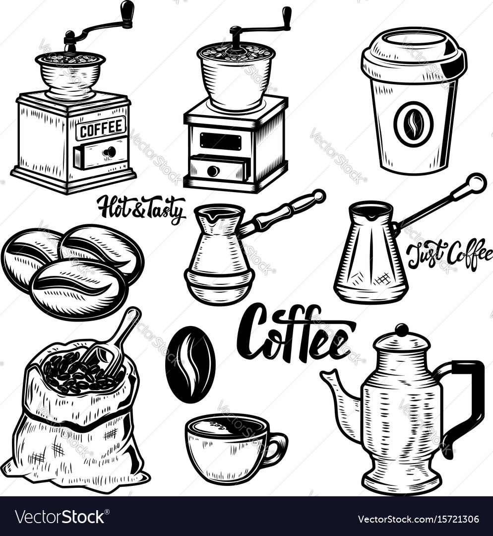 Set of coffee icons on white background coffee