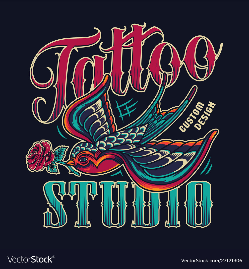 Tattoo studio vintage colorful emblem