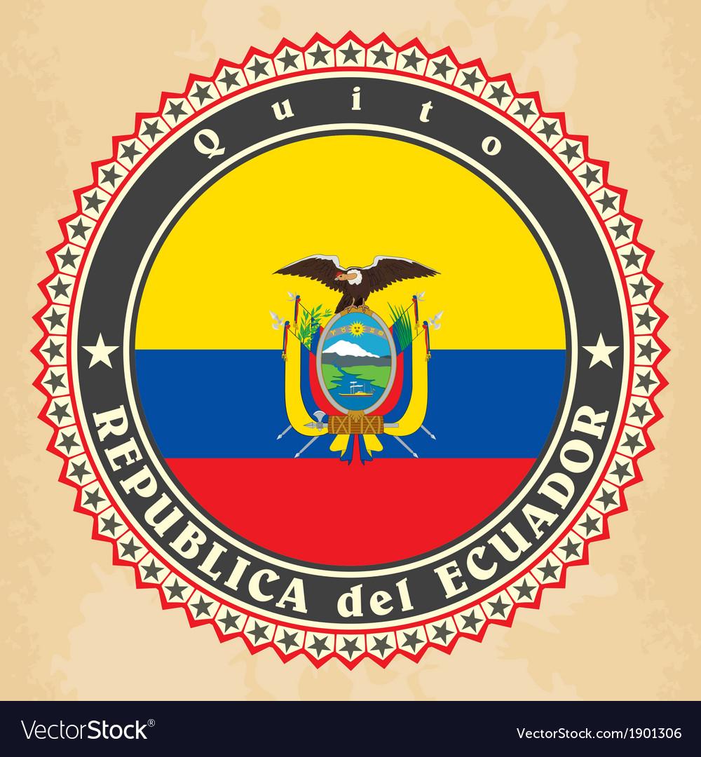 Vintage label cards of Ecuador flag