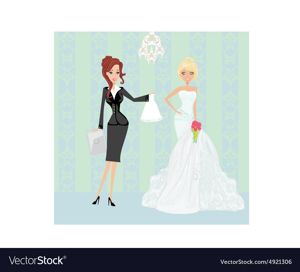 wedding planner and bride royalty free vector image