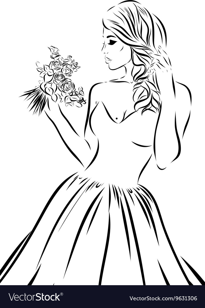 Wedding scetch Bride on a white background