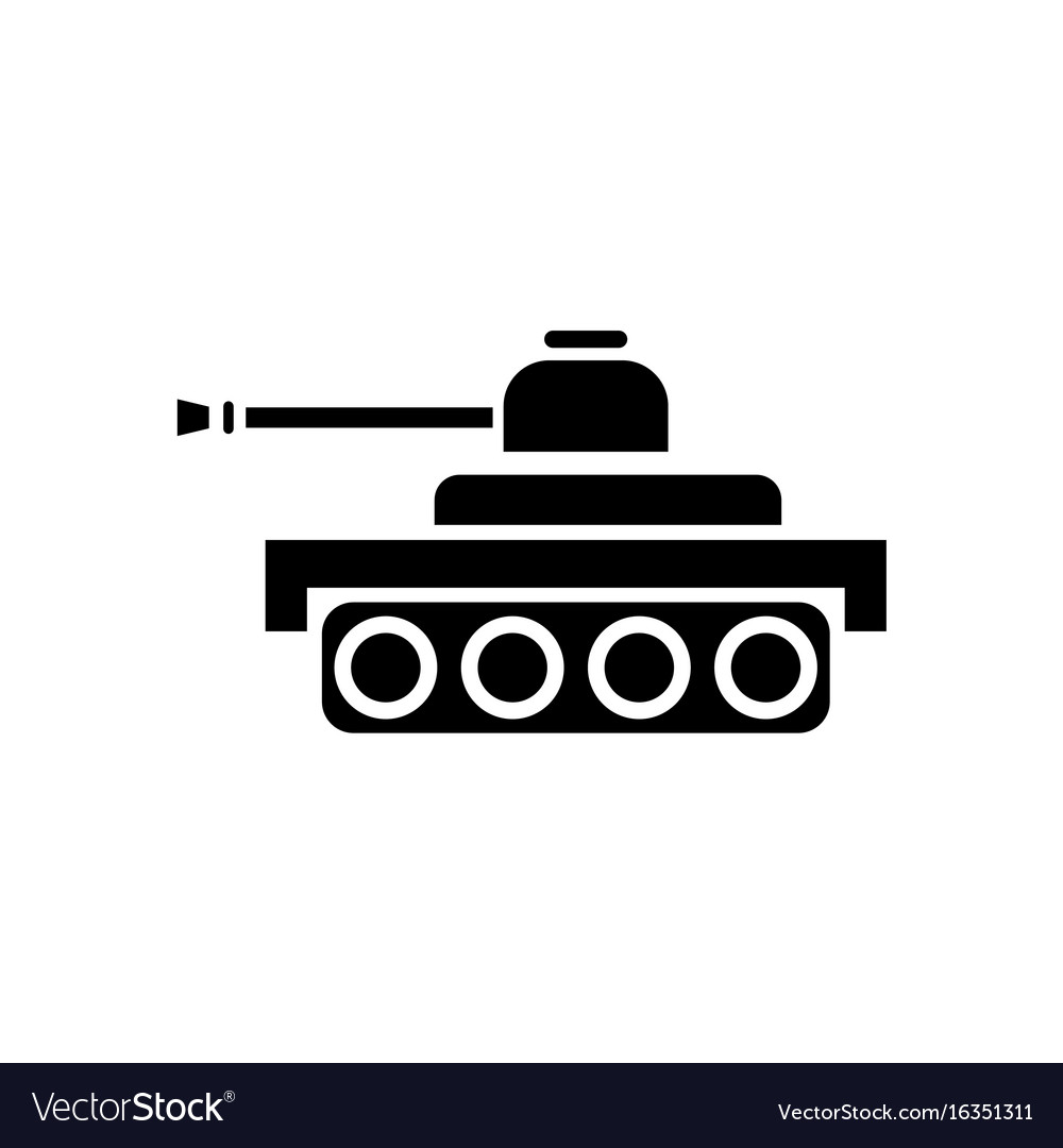 black icon on white background army tank vector image vectorstock