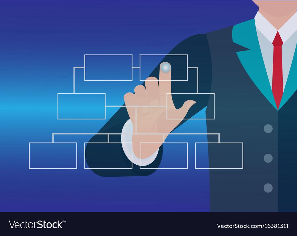 Businessman hand touching button organization