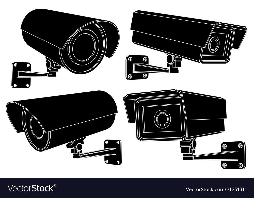 Cctv security camera set black outline