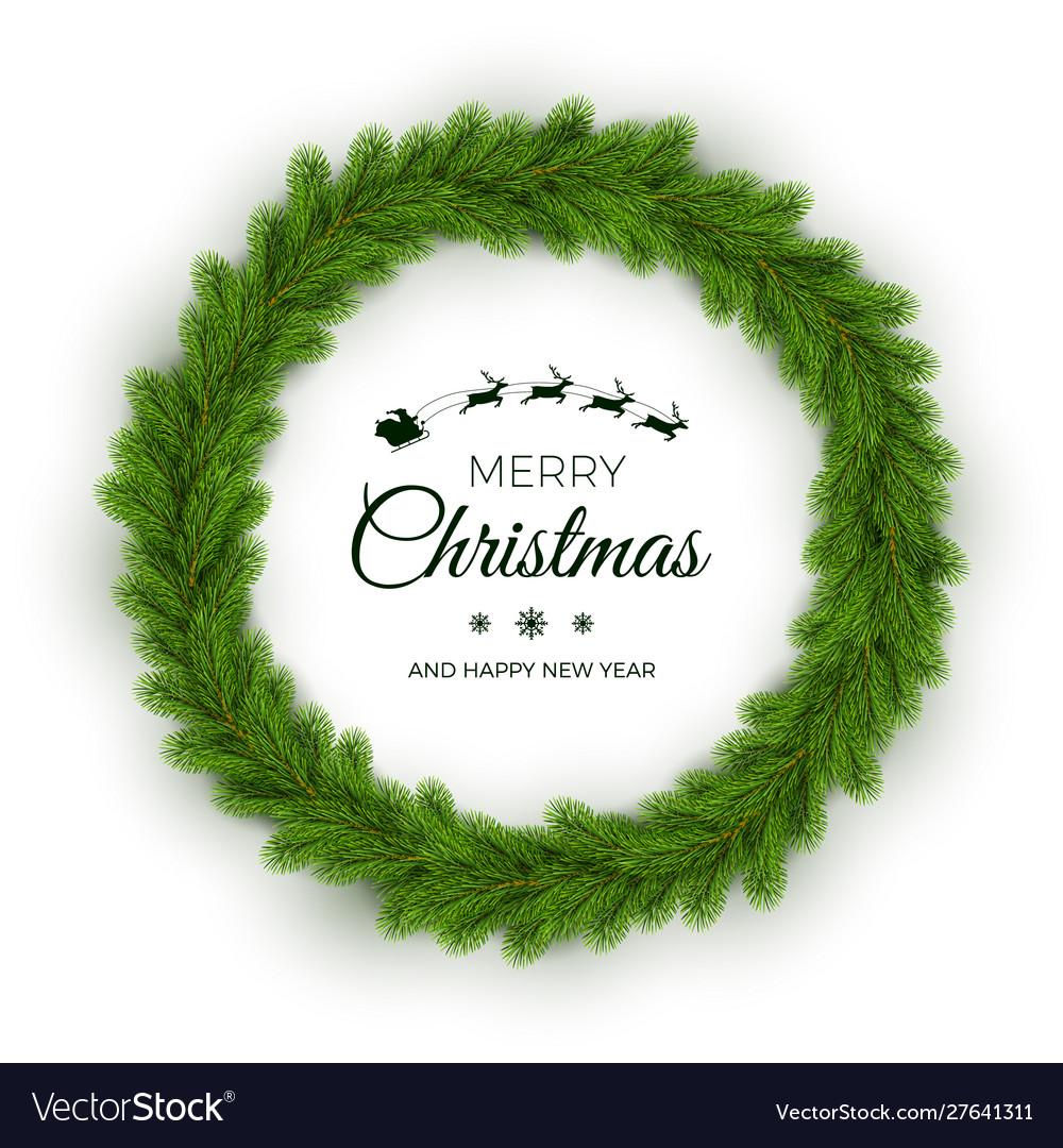 Christmas wreath traditional pine round garland