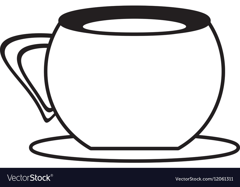 Cup coffee plate utensil outline vector image