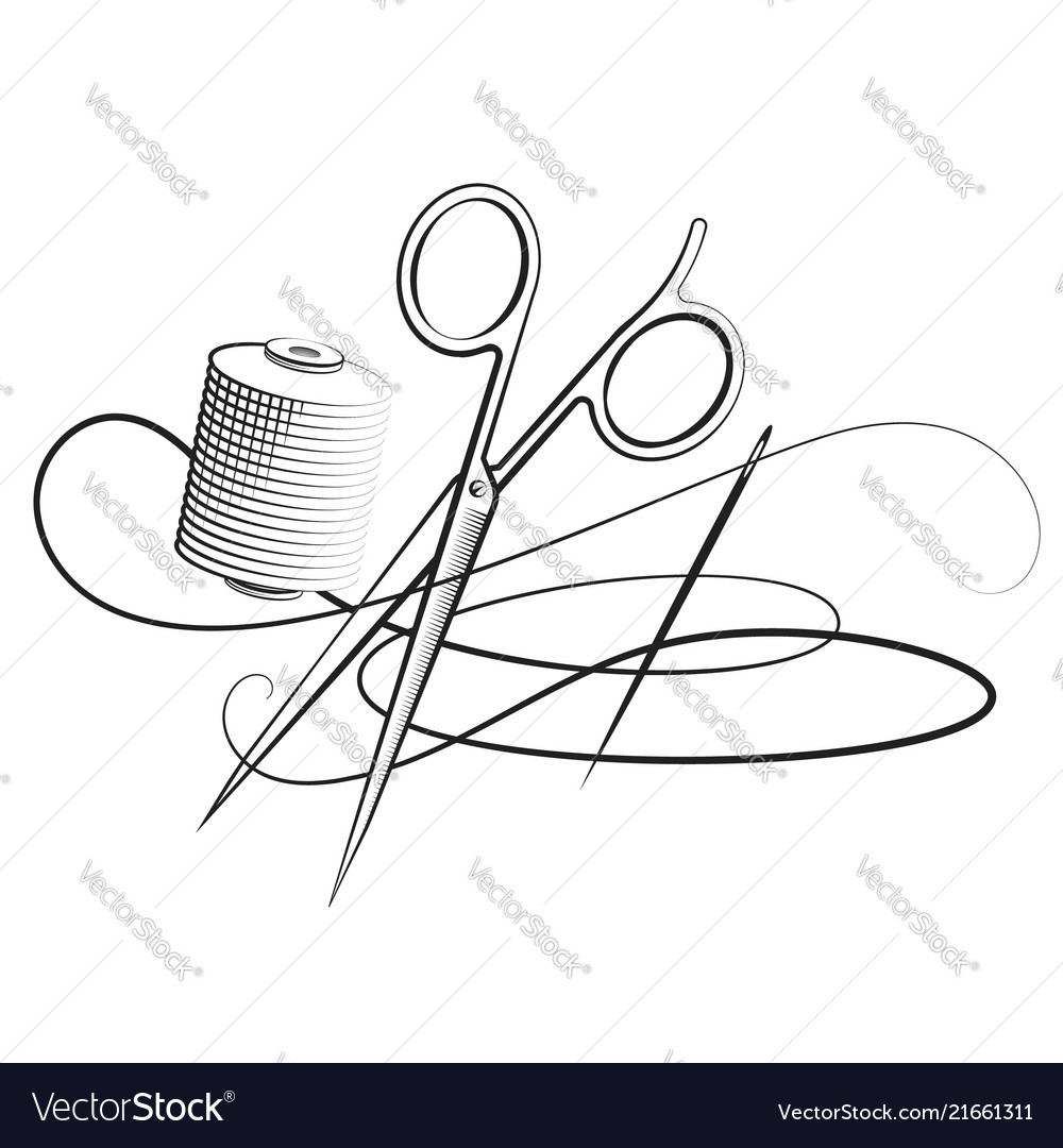 Scissors and needle with thread