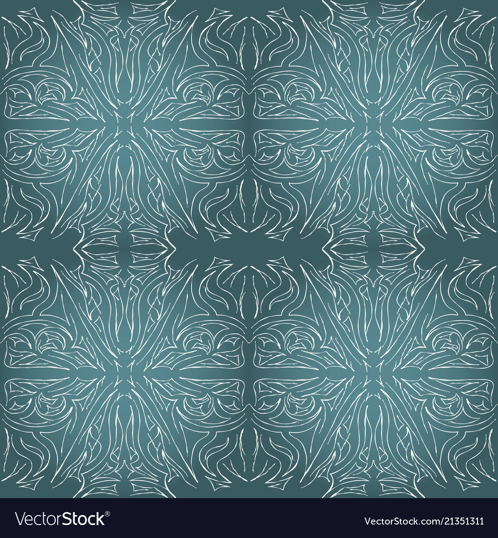 Seamless aqua tile with lacy patterns hand