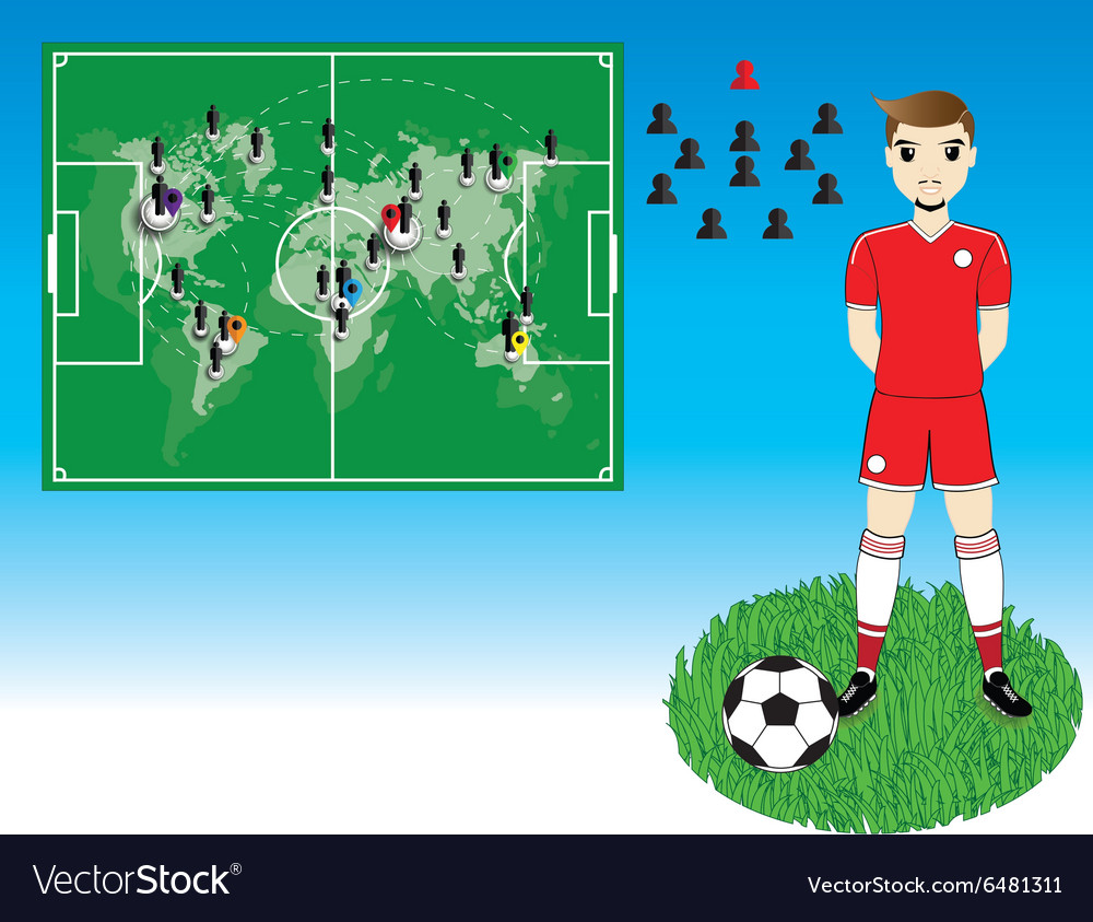 Soccer player with world map on blue background