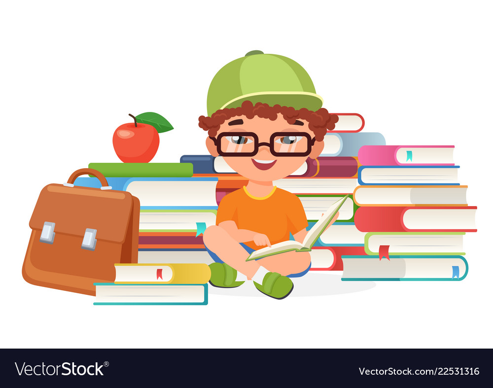 Boy pupil reading books alone