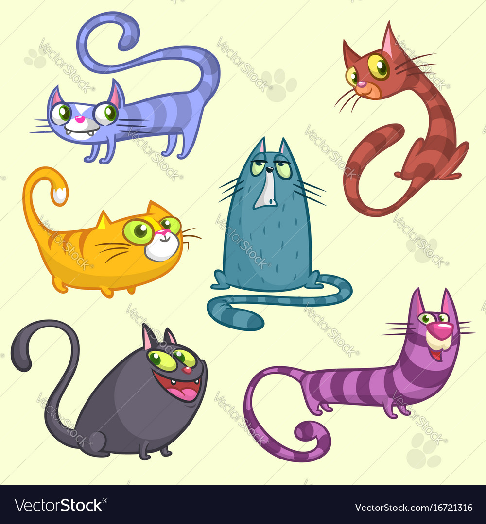 Cartoon Set Of Funny Cats Royalty Free Vector Image