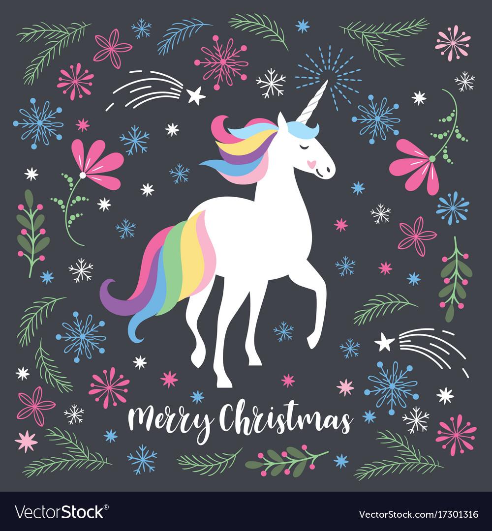 Christmas Unicorn.Christmas Card With Unicorn Vector Image