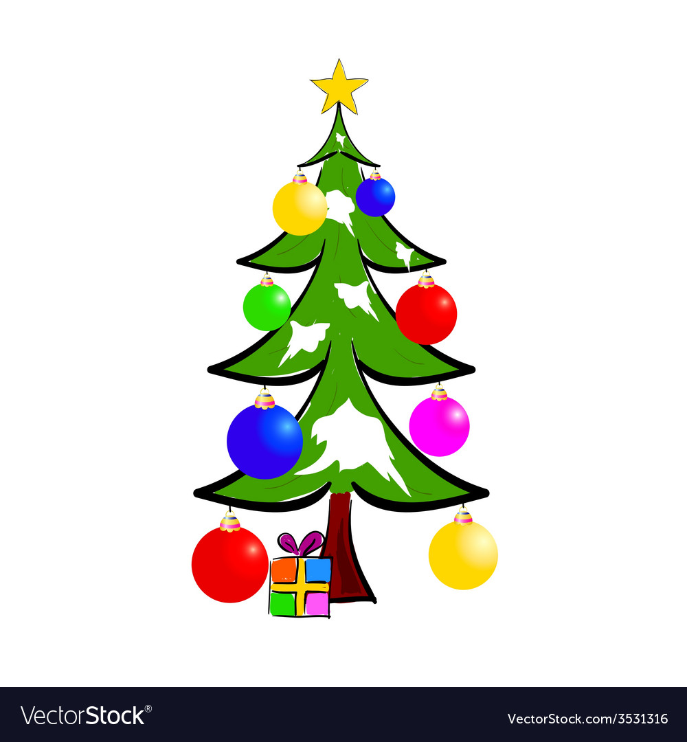 Christmas Tree With Presents Color Royalty Free Vector Image